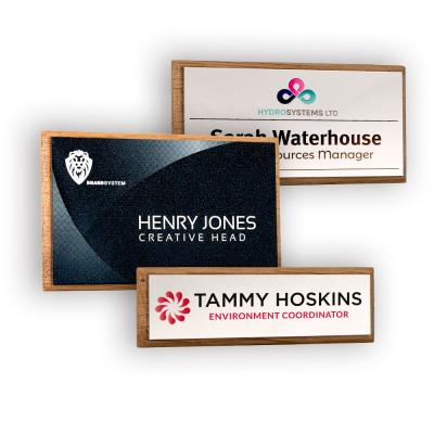 Image of Real Wood Framed Name Badges